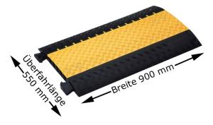 Kabelbrücke Typ 334-180 - 4 Kanäle, 3 à 34 mm + 1 á 80 mm, Breite 900 mm (Modell: mit hoch transparentem, gelb getöntem LUX-Deckel, zur Verwendung mit Lichtschläuchen (Art.Nr.: 34878))