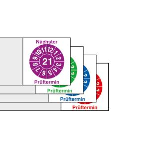 Kabelprüfplaketten mit Jahresfarbe (1 Jahr), 2021 - 2024, Prüftermin + Jahreszahl, Bogen (Zeitraum/Farbe: 2021 / violett (Art.Nr.: 30.0881-21))
