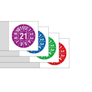 Kabelprüfplaketten mit Jahresfarbe (1 Jahr), 2021-2024, mit Jahreszahl, Bogen (Zeitraum/Farbe: 2021 / violett (Art.Nr.: 30.3700-21))