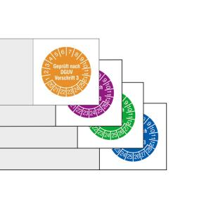 Kabelprüfplaketten mit Jahresfarbe (6 Jahre), 2020 / 20254-2023 / 2028, Geprüft nach DGUV Vorschrift 3 (Zeitraum/Farbe: 2020-2025 / orange (Art.Nr.: 30.c3520-20))