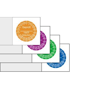 Kabelprüfplaketten mit Jahresfarbe (6 Jahre), 2020 / 2025 - 2023 / 2028, Geprüft nach DGUVV, Bogen (Zeitraum/Farbe: 2020-2025 / orange (Art.Nr.: 30.c3510-20))