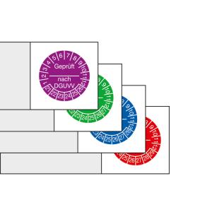 Kabelprüfplaketten mit Jahresfarbe (6 Jahre), 2021 / 2026 - 2024 / 2029, Geprüft nach DGUVV, Bogen (Zeitraum/Farbe: 2021-2026 / violett (Art.Nr.: 30.c3510-21))