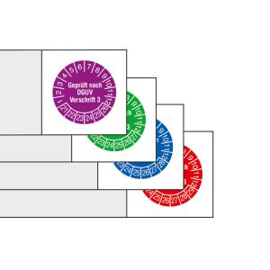 Kabelprüfplaketten mit Jahresfarbe (6 Jahre), 2021 / 2026-2024 / 2029, Geprüft nach DGUV Vorschrift 3 (Zeitraum/Farbe: 2021-2026 / violett (Art.Nr.: 30.c3520-21))