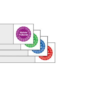 Kabelprüfplaketten mit Jahresfarbe (6 Jahre), 2021 / 2026 - 2024 / 2029, Nächster Prüftermin, Bogen (Zeitraum/Farbe: 2021-2026 / violett (Art.Nr.: 30.0876-21))