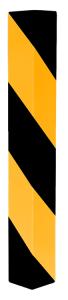 Kantenschutzwinkel aus Aluminiumblech, zum Andübeln, gelb / schwarz, rechts- o. linksweisend (Modell: rechtsweisend (Art.Nr.: 4317rbg))
