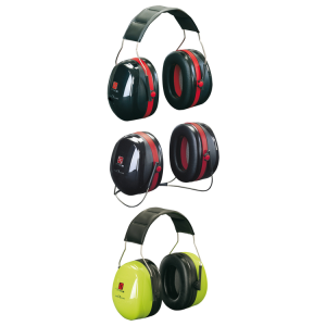 Kapselgehörschützer -Deaf III-, 35 dB SNR, wahlweise als Kopfbügel oder Nackenbügel (Modell/Farbe: Kopfbügel, faltbar/ <b>schwarz-rot</b> (Art.Nr.: 32057))
