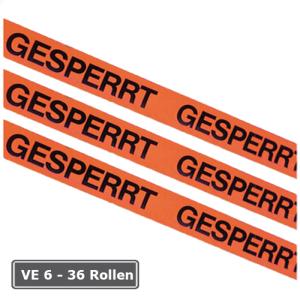 Kennzeichnungsklebeband, VE 6 - 36 Rollen, Breite 50 mm, Länge 66 m (Aufdruck/Verpackungseinheit: GESPERRT/VE 6 Rollen (Art.Nr.: 12965))