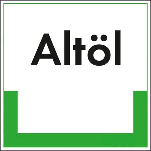 Kennzeichnungsschild Altöl (Maße (BxH)/Material: 100x100mm/Folie,selbstklebend/ umweltschonend (Art.Nr.: 35.6612))