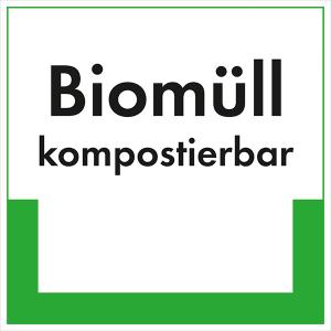 Kennzeichnungsschild Biomüll kompostierbar (Maße (BxH)/Material: 100x100mm/Folie,selbstklebend/ umweltschonend (Art.Nr.: 35.6629))