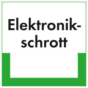 Kennzeichnungsschild Elektronikschrott (Maße (BxH)/Material: 100x100mm/Folie,selbstklebend/ umweltschonend (Art.Nr.: 35.6665))