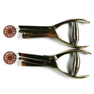 Kerbzange für Prüfplaketten, Maultiefe 50 mm (Kerbform: Dreieck (Kantenlänge 3 mm) (Art.Nr.: 90.3651))