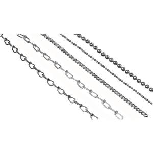 Ketten aus Stahl zur Befestigung von Schildern, Meterware (Kette/Material: Knotenkette nach DIN 5686<br>(nicht geprüft)<br>Drahtstärke 1,4 mm<br>Außenbreite 6,5 mm / Stahl,<br>galvanisch verzinkt (Art.Nr.: 90.9121))