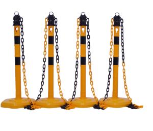 Kettenpfosten 4er-Set -Jumbo- aus PP, Höhe 1000 mm, Ø 63 mm, mit Absperrkette, max. Länge 11,5 m (Farbe/Streifen: gelb ohne schwarze Streifen (Art.Nr.: 15836))