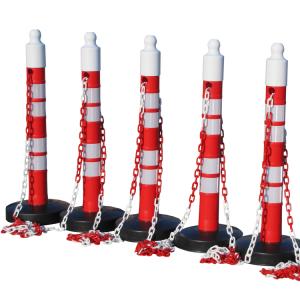 Kettenpfosten 5er-Set -Maxi Plus- aus PP, H 1200 mm, Ø 110 mm, mit Absperrkette, max. Länge 25 m (Ausführung: Kettenpfosten 5er-Set -Maxi Plus- aus PP, H 1200 mm, Ø 110 mm, mit Absperrkette, max. Länge 25 m (Art.Nr.: 15842))