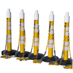 Kettenpfosten 5er-Set -Maxi Plus- aus PP, H 1200 mm, Ø 110 mm, mit Absperrkette, max. Länge 25 m (Farbe/Streifenanzahl: gelb / 3 schwarze Streifen (Art.Nr.: 40448))