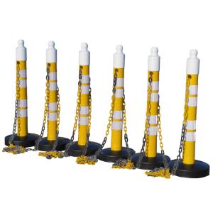 Kettenpfosten 6er-Set -Maxi Plus- aus PP, H 1200 mm, Ø 110 mm, mit Absperrkette, max. Länge 25 m (Farbe/Streifenanzahl: gelb / 3 schwarze Streifen (Art.Nr.: 40446))