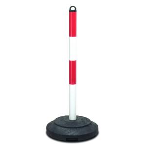 Kettenpfosten -Extern- aus Stahl, Höhe 1000 mm, Ø 60 mm, mit Recyclingfuß (Ausstattung:  <b>gelb/schwarz</b><br>ohne reflektierende Rotringe (Art.Nr.: 34664))