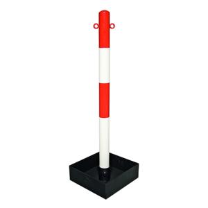 Kettenpfosten -Extern- aus Stahl, Höhe 1000 mm, Ø 60 mm, mit befüllbarer Bodenwanne