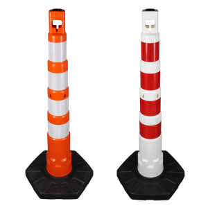 Kettenpfosten -GigaMAX- aus PPC, Höhe 1185 mm, ca. Ø 85 mm, ca. 8,7 kg (Farbe: rot mit weißen reflektierenden Streifen (RA2) (Art.Nr.: 40450))