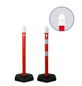 Kettenpfosten -Jumbo- aus PP, Höhe 1000 mm, Ø 63 mm, ca. 4,2 kg, rot / weiß (Farbe: rot ohne reflektierenden Streifen (Art.Nr.: 12919))