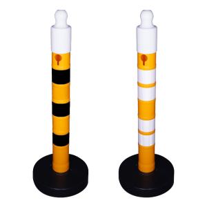 Kettenpfosten -Maxi Plus- aus PP, Höhe 1200mm, Ø 110mm, ca. 3,5kg, befüllbarer Fuß (Farbe/Streifenanzahl: gelb / 3 schwarze Streifen (Art.Nr.: 40350))
