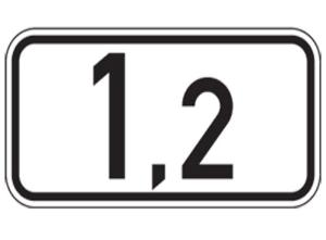 Kilometertafel, einseitig, 150 x 300 mm (Folie/Form: RA1/Flachform 2mm (Art.Nr.: 00km010121))