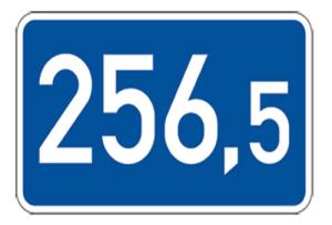 Kilometertafel, einseitig, 260 x 450 mm (Folie/Form: RA1/Flachform 2mm (Art.Nr.: 00km013321))