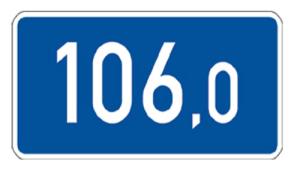 Kilometertafel, einseitig, 260 x 550 mm (Folie/Form: RA1/Flachform 2mm (Art.Nr.: 00km012921))