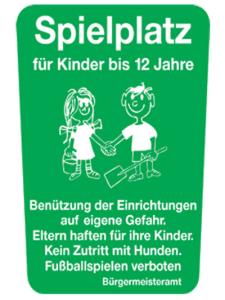 Kinder- und Spielplatzschild -Spielplatz für Kinder bis 12 Jahre- (Ausführung: Kinder- und Spielplatzschild -Spielplatz für Kinder bis 12 Jahre- (Art.Nr.: kss10))