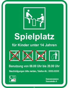 Kinder- und Spielplatzschild -Spielplatz für Kinder unter 14 Jahren ...- (Form: Flachform (Art.Nr.: kss20007221))