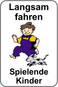 Kinderhinweisschild, Langsam fahren Spielende Kinder, mehrfarbig, 500 x 750 oder 650 x 1000 mm (Maße (BxH): 500x750mm (Art.Nr.: 14763))
