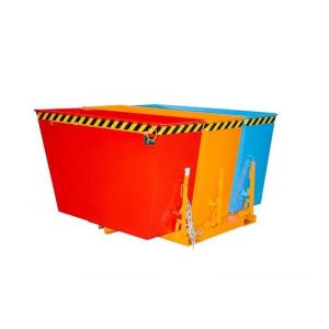Kippbehälter -Typ DUO- und -Typ TRIO-, Abkippmechanismus mit manueller Entriegelung (Modell/Kammern/Tragkraft/Maße(LxBxH)/Gewicht:  <b>DUO</b> / 2 Kammern á 0,90 m³ / 1500 kg<br>1665 x 1610 x 1000 mm / 258 kg (Art.Nr.: 38364))