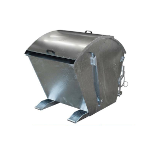 Kippbehälter -Typ RD-, Abkippmechanismus mit manueller Entriegelung und Runddeckel