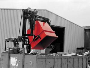 Kipptraverse -Typ UCT-, zum Auskippen des Universal-Containers -Typ UC- (Farbe: RAL 2000 gelborange (Art.Nr.: 38522))