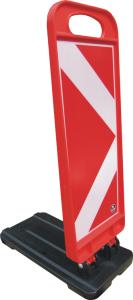 Klappbake -Luca- mit Pfeilfolie RA2 (Typ 2), Höhe 700 bis 1200 mm (Modell/Höhe/Gewicht/Maße (HxBxT):  <b>Luca Maxi/1200mm</b>/12,0kg<br>1200x250x480mm (Art.Nr.: 34798))