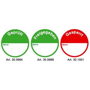 Klebepunkte zur Qualitätskontrolle, Bogenware 15 Stück (Text/Farbe: Geprüft / grün (Art.Nr.: 30.0984))
