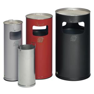 Kombiascher -Cubo Inez- 17, 37 oder 69 Liter aus Stahl (Volumen/ØxHöhe/Farbe/Einwurföffnung: 16,7 Liter/230x660mm/ <b>weiß</b><br>1 Einwurföffnung (Art.Nr.: 16348))
