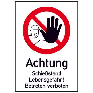 Kombischild, Achtung Schießstand Lebensgefahr! Betreten verboten (Ausführung: Kombischild, Achtung Schießstand Lebensgefahr! Betreten verboten (Art.Nr.: 51.5350))