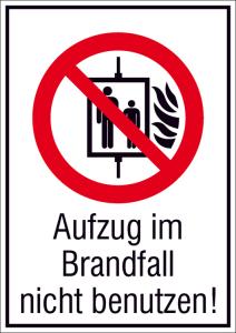 Kombischild, Aufzug im Brandfall nicht benutzen! (Maße(BxH)/Material: 105x148mm/nicht langnachl. (Art.Nr.: 21.a6142))