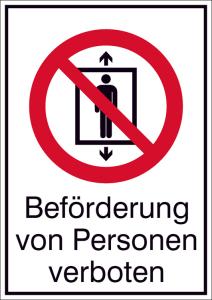 Kombischild, Beförderung von Personen verboten (Maße(BxH)/Material: 131 x 185 mm /Folie, selbstklebend (Art.Nr.: 21.a6160))