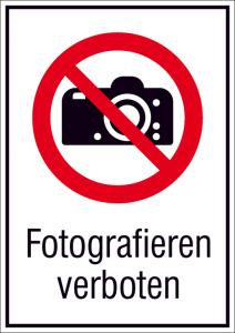 Kombischild, Fotografieren verboten (Maße (BxH)/Material: 131x185mm/Folie,selbstklebend (Art.Nr.: 21.a6210))