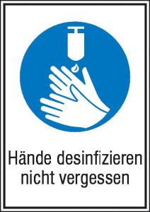 Kombischild, Hände desinfizieren nicht vergessen (Ausführung: Kombischild, Hände desinfizieren nicht vergessen (Art.Nr.: 11.0705))