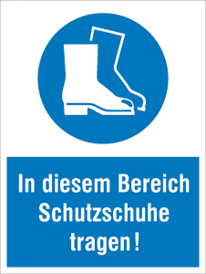 Kombischild, In diesem Bereich Schutzschuhe tragen! (Ausführung: Kombischild, In diesem Bereich Schutzschuhe tragen! (Art.Nr.: 43.0393))