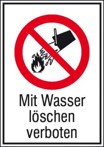 Kombischild, Mit Wasser löschen verboten (Maße(BxH)/Material: 131x185mm/Alu,geprägt (Art.Nr.: 11.1134))
