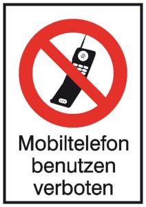 Kombischild, Mobiltelefon benutzen verboten (Material: Alu, geprägt (Art.Nr.: 11.1056))