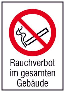 Kombischild, Rauchverbot im gesamten Gebäude (Maße(BxH)/Material: 131x185mm/Folie,selbstklebend (Art.Nr.: 21.a6040))
