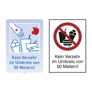 Kombischild -Verzehrverbot-, Kein Verzehr im Umkreis von 50 Metern, PVC-Folie, selbstklebend (Schildfarbe: blau (Art.Nr.: 21.g8217))