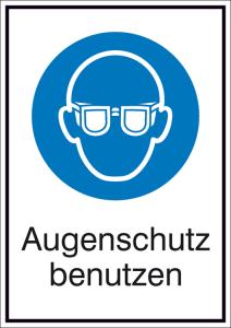 Kombischild mit Gebotszeichen und Zusatztext, Augenschutz benutzen (Maße (BxH)/Material: 131x185mm/Folie,selbstklebend (Art.Nr.: 21.a7040))