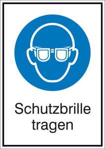 Kombischild mit Gebotszeichen und Zusatztext, Schutzbrille tragen (Maße (BxH)/Material: 131x185mm/Folie,selbstklebend (Art.Nr.: 21.a7030))