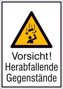Kombischild mit Warnschild und Zusatztext, Vorsicht! Herabfallende Gegenstände (Maße (BxH)/Material: 131 x 185 mm / Alu, hart 0,56-1,0 mm (Art.Nr.: 51.a8040))